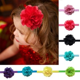 $enCountryForm.capitalKeyWord Canada - 10PCS Chiffon Flower Infant Baby Headbands Handmade Girl Hairband Headwear Kids Baby Photography Props NewBorn Baby Hair bands Accessories