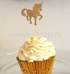 Bridal Shower Cupcakes Toppers NZ - cheap Custom personality Glitter unicorn Cupcake Toppers Bachelorette wedding bridal Shower birthday tea party treat food picks decoration