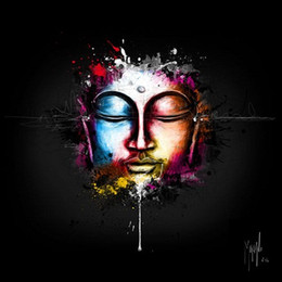 buddha oil canvas UK - Framed Patrice Murciano Zen Pop,Pure Hand Painted bunt modern Portrait Buddha Wall Art Oil Painting On Canvas.Multi size Free Shipping PM015