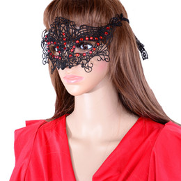 Masques De Cristal Sexy Pas Cher-Sexy Girl Lace Eye Mask avec pierre de cristal rouge pour Masquerade Party Fancy Dress Party Bars Noir