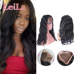 KinKy straight blonde online shopping - Peruvian Human Hair Pre Plucked Lace Frontal Body Wave Kinky Straight Natural Hairline Lace Frontal Closure Hair Weave