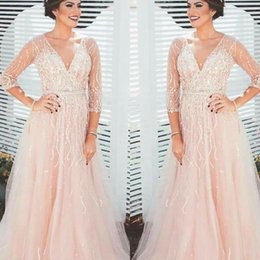 Barato Vestidos De Formatura Rosa De Lantejoulas Longo-2018 Sparkle 3/4 Long Sleeves Evening Dresses V Neck Sequins Beading Tulle See Through Back Borgonha Blush Pink Prom Dresses Evening Gowns