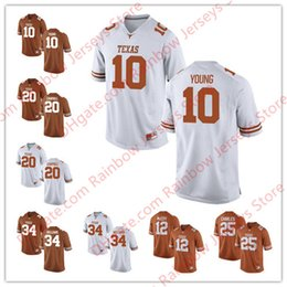 white football jerseys Australia - Custom Texas Longhorns College Football Jerseys 10 Vince Young 12 Colt McCoy 20 Earl Campbell 34 Ricky Williams 2017 New Orange Brunt White