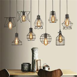 Energy Saving Shades Australia - Retro Lamp Shades Industry Metal Pendant Lamps Holder Vintage Style Iron Hanging Light Shade Edison Bulb Covers