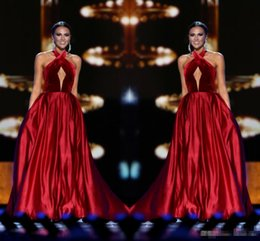 Robes De Bandage Usa Pas Cher-Wine Red Miss USA Pageant 2017 Robes de soirée Blouson de serrure sans manches avec poches A-Line Femmes Formal Occasion Wear Long Prom Party Robes