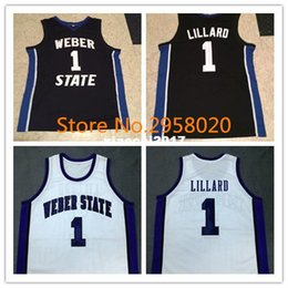 8e2ab8f7567 Cheap custom DAMIAN LILLARD Weber State Black White College Basketball  Jerseys Embroidery Stitched Custom Any Name and Number cheap custom college  ...