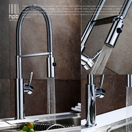 brushed chrome kitchen mixer taps 2019 - Wholesale- HPB Brass Brushed Chrome Pull Out Rotary Kitchen Faucet Mixer Tap for Sinks Single Handle Deck Mounted Hot An