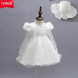 Satin Baptism Gown Canada - Wholesale- New Baby Girl Baptism Christening Easter Gown Dress Lace Satin Embroidery Shwal Formal Toddler Baby Girl Party Dresses 3PCS Set