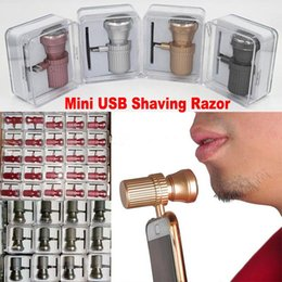 Barato Raspadores Para Homens-Mini USB Shaving Razor Shavers elétricos Outdoor Travel Travel Razors Mens Shaver para iphone 6 6s 7 mais SE Android s7 s6 edge s5 Free Ship