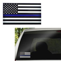 Linha vermelha azul fina Etiqueta de decalque da bandeira dos EUA para carros Computador de caminhões - 6.5 * 11.5CM Etiquetas de janela de decalque de carro da bandeira dos EUA
