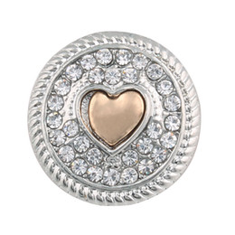 18mm bezel Canada - Crystal Metal 18mm Heart Snap Button For Female Leather Bracelet One Direction Watches Women ZA322