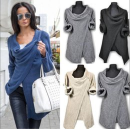 Barato Pullover De Tricô Patchwork-Mulheres Irregular Sweater Outono Inverno Knitted Cardigans Casacos Casacos Long Sleeve Chunky Pullovers Cardigan Outwear Coat OOA2957