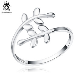 orsa rings 2019 - ORSA S925 Sterling Sliver Trendy Silver Leaf Ring Adjustable Style Woman Ring pARTY Brithday Wholesale SR12 discount ors