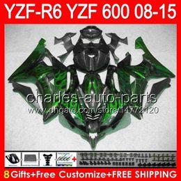 $enCountryForm.capitalKeyWord Canada - 8gifts For YAMAHA YZF R6 08 09 10 11 12 13 15 YZF600 YZF-R6 green flames 86NO81 YZFR6 2008 2009 2010 2011 2012 2013 2015 gloss black Fairing