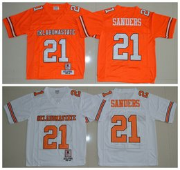 0508e0607 ... Mens white Oklahoma State Cowboys College Football Jerseys stitched  Orange 21 Barry Sanders OK state throwback .