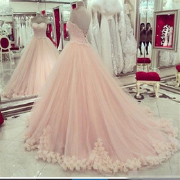 Robe Sexy Douce Et Sexy Pas Cher-2017 Blush Pink Quinceanera Robes Sweetheart Applique Dentelle Sweet 16 Robes Plus Size Hot Sale Masquerade Formal Prom Ball GownChec