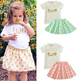 Cute Summer Cloths Canada - 2 color 2017 new summer kids girls two-piece suit letter shirt+dot skirt kids two piece suit baby cloth XT