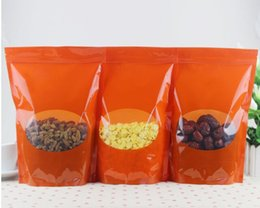 Pack Supplies Australia - 04.07 New 19*27+5 cm Orange Standup Bag With Window , Plastic Zip Lock Pouch with window , Dried Food Snack Packing Bag wedding