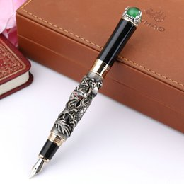 Discount loose pearls - Wholesale - JINHAO GRAY FOUNTAIN PEN BROAD NIB DRAGON PLAY THE PEARL BALL METAL PEN BADY RELIEF
