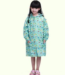 Barato Raincoat Kid Dinossauro-Kids cute cartoon print schoolbag rainsuit Boys Girls hooded raincoat chidlren dinossauro bonecos elefante gato padrões rainwear para 1-13T