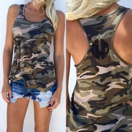 Les Femmes Camo Gilets Pas Cher-Femmes Casual Army Camo Camouflage Print Tank Tops Summer Sleeveless O-neck Slim T-shirt Sexy Vest S-XXXXXL