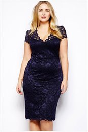 Robes De Club Bleu Foncé Pas Cher-New Fashion Sexy Women Boucle Bodycon V-Neck Floral Lace Plus Size M L XL XXL XXL 3XL 4XL Slim Pencil Dress Longueur au genou Bleu foncé