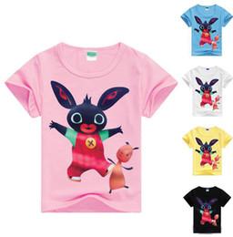 Las tapas del verano de las muchachas de los muchachos de las camisetas del conejito de Bing para los niños de los cabritos ponen en cortocircuito la ropa 7 del conejito de Bing del verano de las camisetas de la manga en venta