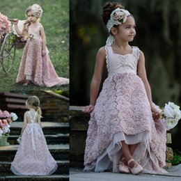 Barato Vestir-se Vestidos De Casamento Meninas-Pink High Low Flower Girl Vestidos Luxo Toddler Dress Up Dress Boho Wedding Beach Little Baby Vestidos para a Comunhão