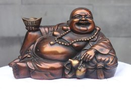 $enCountryForm.capitalKeyWord Canada - China East Buddhist Red Bronze Lucky Wealth Yuanbao Arhat Maitreya Buddha Statue