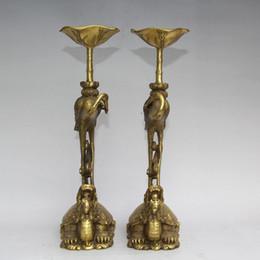 $enCountryForm.capitalKeyWord NZ - Pair Brass carved Lotus Bird Crane Dragon Turtle candle candlestick statue home decoration