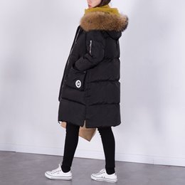 Womens Down Parka NZ - 100% Natural Raccoon Fur Collar 2016 Winter Jacket Women White Duck Down Coats Long Thick Parkas Womens Winter Jackets And Coats