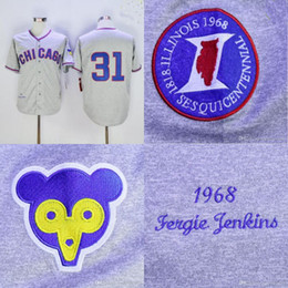 bbb67052 ... MLB 31 Ferguson Fergie Jenkins Jersey Chicago Cubs Mens 1968 Fergie  Jenkins 100% Stitched Embroidery Logos ...