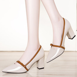 Ankle Chain Pumps NZ - With Box New leather Women Dress Shoes Heel Pointed Toes Ankle High Heel Classic women high heel shoes Chains female zip Shoes Size 34-40 33
