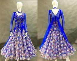 Discount royal blue ballroom dresses - Standard Ballroom Dance Competition Dresses For Women High Quality Stage Long Sleeve Tango Waltz Ballroom Dancing Costum