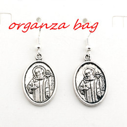 Brass copper earrings online shopping - Hot pair Antique silver st benedict Charms Earrings With Fish hook Ear Wire X mm