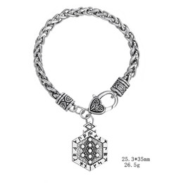 China Lemegeton Nickel and Lead Free Egyptian Hexagon Shape Jewelry Viking Runes Talisman Tree of Life Pendant Vintage Charm Bracelet suppliers
