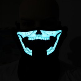 $enCountryForm.capitalKeyWord Canada - EL wire mask Light up Neon LED Mask for Halloween scary party Coplay Masks by 3V Steady on Driver sound controlled XLL06