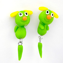 Oreille Pas Cher-Hot Green Lovely Pig Ear Stud Earring Fashion Jewelry Polymer Clay Cartoon 3D Animal Boucles d'oreilles pour les femmes Lot 10 Pairs