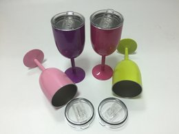 Order glasses online shopping - Order today Ship today Hot oz Metal Stainless Steel Goblet With Lid cooler Red Wine glass oz tumbler colors