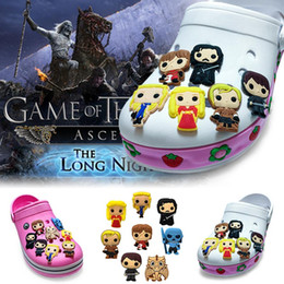 Discount accessories game thrones 8Pcs Lot Game of Thrones PVC Cartoon Shoe Charms Ornaments Buckles Fit for Shoes & Bracelets ,Charm Decoration,Shoe Acce