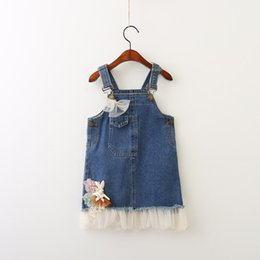 Mode Bow Bow Pas Cher-Everweekend Girls Tulle Ruffles Lace Flower Denim Dress Cute Baby Bow Pocket Vêtements Lovely Kids Western Fashion Outre Vêtements