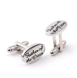 Father Cuff Links for Men Tuxedo Stylish Cufflinks Silver Plated Oval Father of The Groom French Shirt Cuff Links Wedding Christmas Gift on Sale