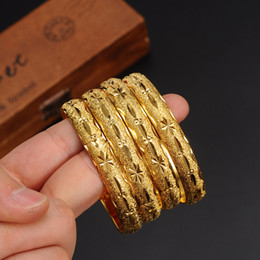 Discount 24k gold jewelry dubai - 1 pc Newest Women Dubai Bangle 24K Gold Color Bracelet Bangle African  Arabic Ethiopian Bride Wedding Jewelry
