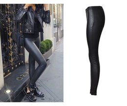 Wholesale 2017 Hot Popular Women Cloth Negro Long Coated Jeans Salvaje Girl Motocicleta Modelo Jeans Imitación Cuero Lápiz Pantalones Jeans Jeans