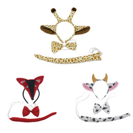 Xl Fox Halloween Costume Pas Cher-3PCS Enfant Adulte 3D Animal Fox Cow Ears Headband Tail Set Birthday Party Post Halloween Costume