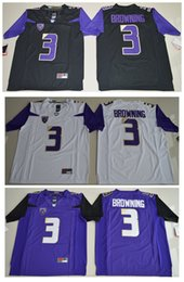Taille Xl Pas Cher-2016 Washington Huskies Jake Browning 3 Hommes College Football Limited Jersey - Noir Violet Blanc Taille S, M, L, XL, 2XL, 3XL