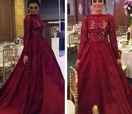 Barato Mangas De Renda Borgonha-Borgonha Prom Dresses 2017 Long Sleeves Lace Dress Party Evening Bateau Neckline Plus Size Formal Gowns
