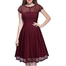 Ingrosso Nuovo nero rosso blu donne retrò vestito Audery vintage elegante 1950S 60S manica corta grande orlo pizzo abiti da partito feminino vestidos DK9015CL