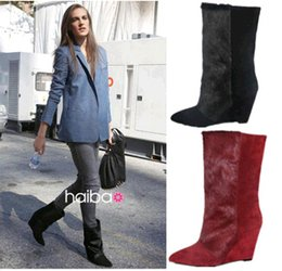 Motorcycle Hair Australia - Fashion Brand Black Pony Hair And Suede Shelia Half Boots Women's Wedge Fashion Genuine Leather Boots