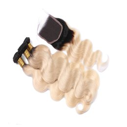 $enCountryForm.capitalKeyWord Canada - Beautyful Products Blonde Peruvian Ombre Virgin Hair With Closure 1B 613 Ombre Body Wave With Closure Platinum Blonde Two Tone Hair Weave